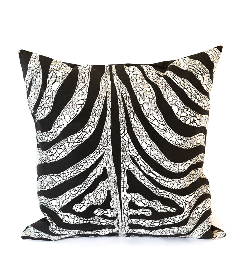Hand Painted Animal Print Pillow in Zebra Print