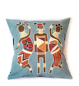 Warriors & Dancing Ladies Pillow in Blue