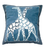 Hand Painted Giraffe Pillow in Indigo
