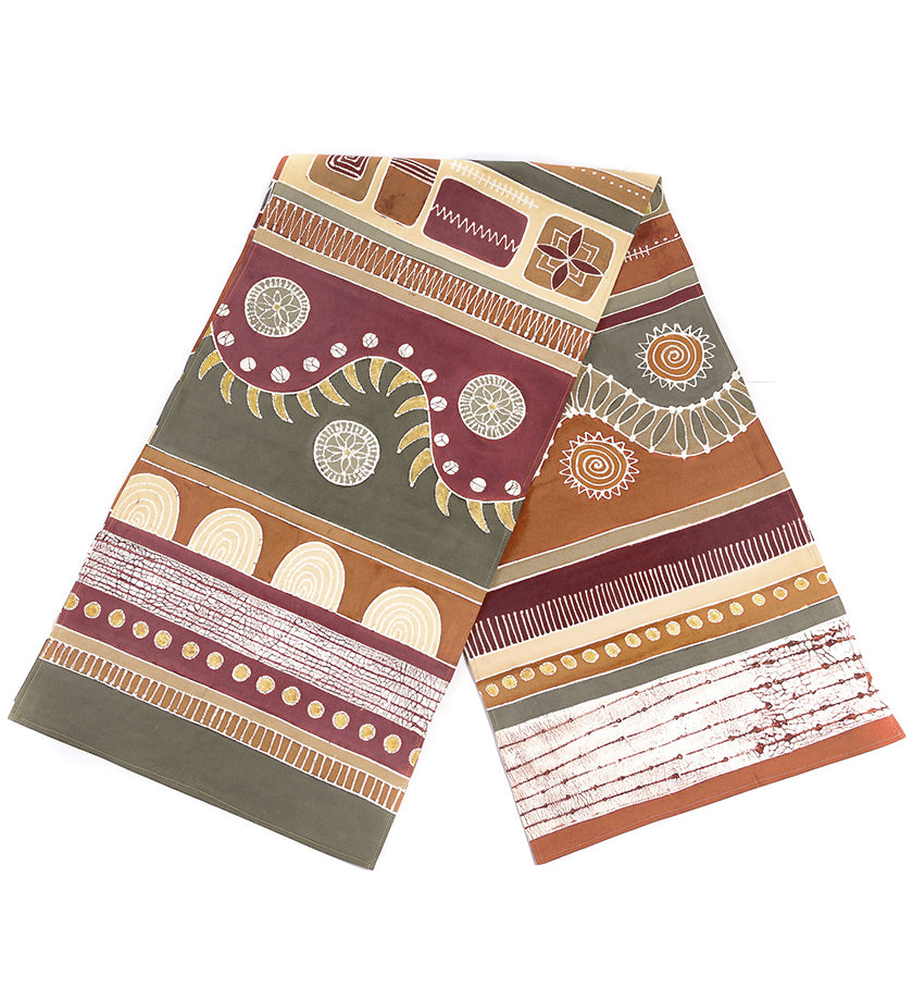 Hand Painted Zambian Rolling Hills Table Runner in Sienna