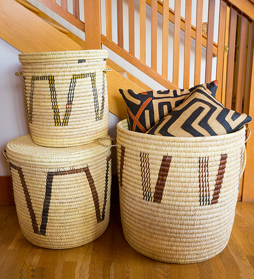 Set of Three Chestnut Arrow Turkana Palm Hampers