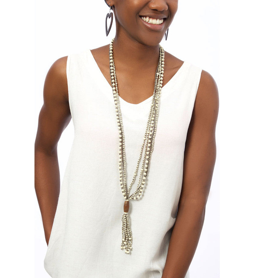 Elongated Ajuna Jalia Tassel Necklace