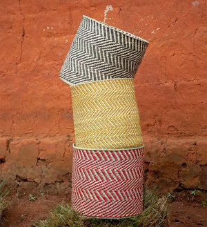 Yellow & Natural Maila Milulu Reed Basket