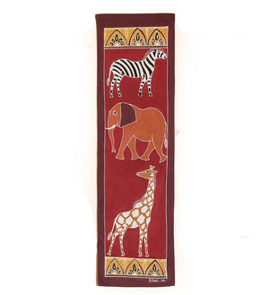 Hand Painted Safari Animals Bushways Wall Hanging