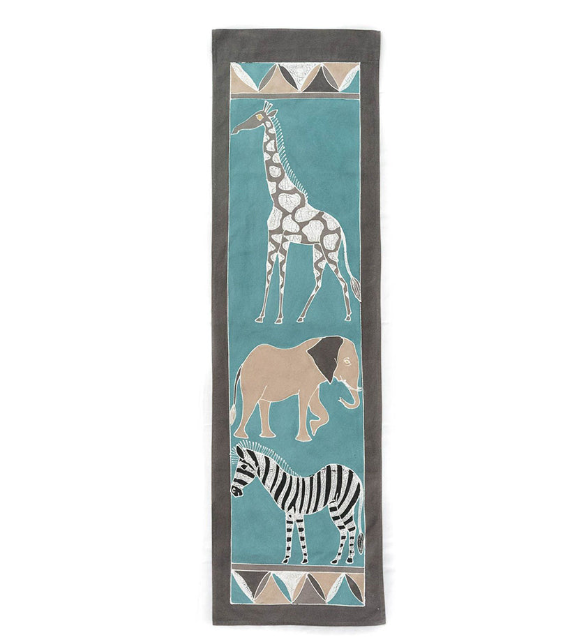 Hand Painted Bush Sky Safari Animals Wall Hanging