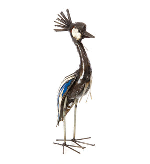 Graceful Crested Cranes Recycled Metal Sculptures
