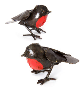 Set of Two Recycled Metal Robin Sculptures