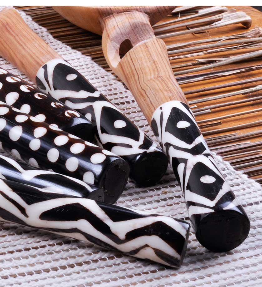 Twisted Olivewood Servers with Bone Handles - Kitchen Handmade in Africa - Swahili Modern - 2