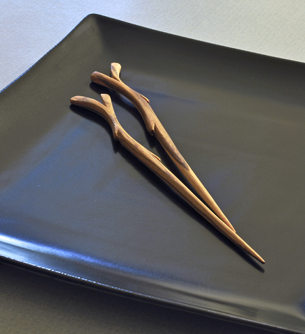 Two Pairs of Wooden Branch Chopsticks - Kitchen Handmade in Africa - Swahili Modern - 4