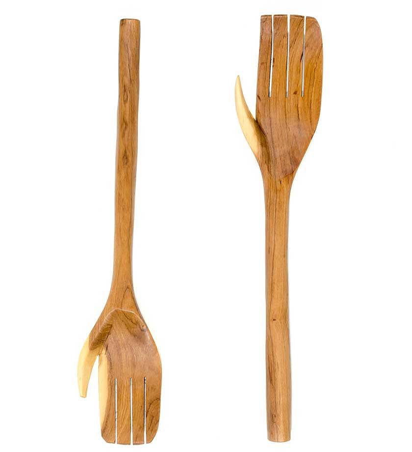 Wood Bone Salad Server Hands African Wood Carving Swahili Modern