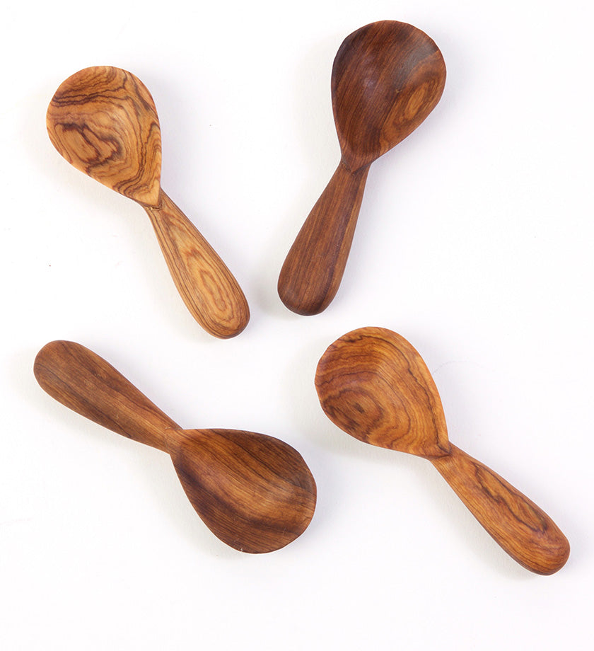 Set of Four Wild Olive Wood Spice Spoons