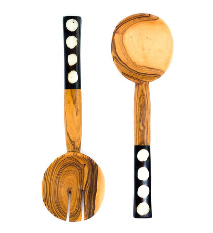 Polka Dot Hand-Carved African Wood Salad Servers - Kitchen Handmade in Africa - Swahili Modern