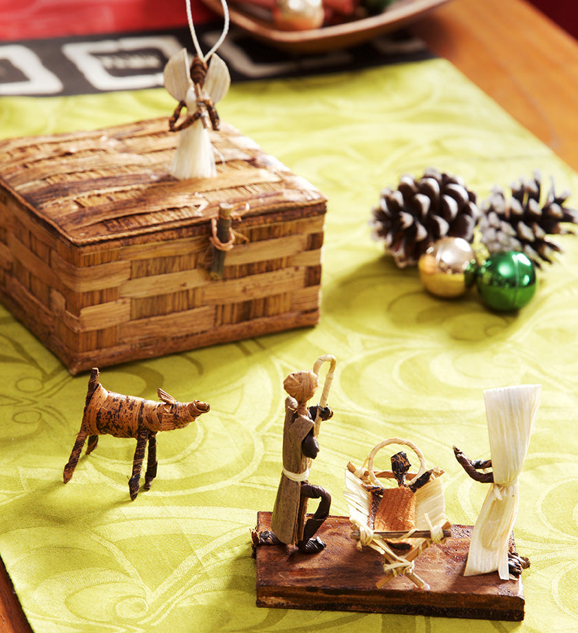 Diminutive Banana Fiber Nativity with Storage Box