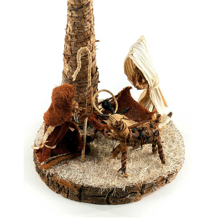 Banana Fiber Palm Tree Nativity Scene - Christmas Handmade in Africa - Swahili Modern - 2