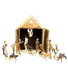 Banana Fiber Double Door Stable Nativity - Christmas Handmade in Africa - Swahili Modern - 1