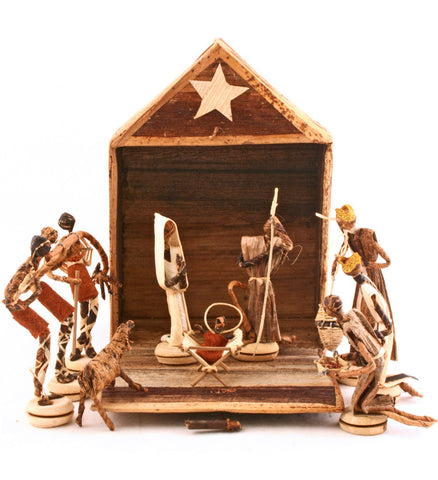 African Banana Fiber Nativity - Christmas Handmade in Africa - Swahili Modern - 2