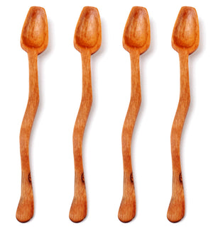 Set of 4 Wild Olive Wood Wavy Pepper Spoons