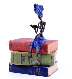 Book Lover Bronze African Sculpture