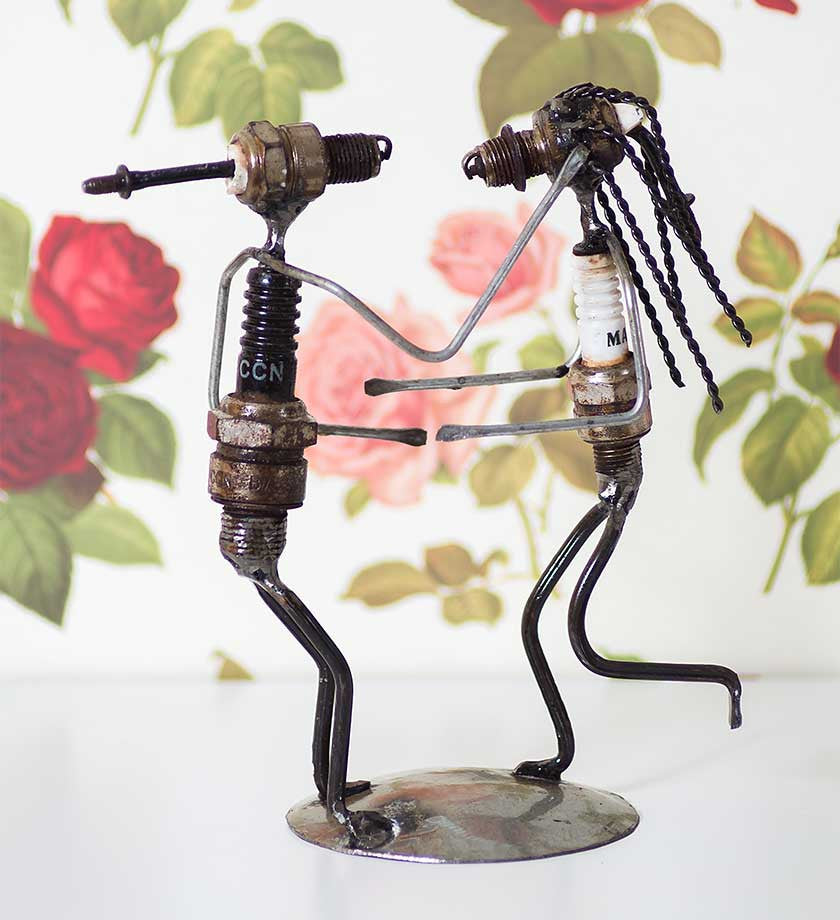 Recycled Spark Plug Lovers - Art & Sculpture Handmade in Africa - Swahili Modern - 3