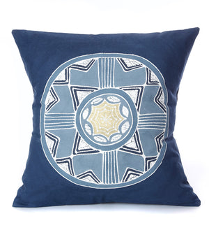 Hand Painted Cobalt African Circles Pillow