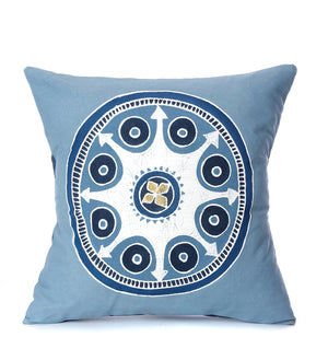 Hand Painted Light Blue African Circles Pillow