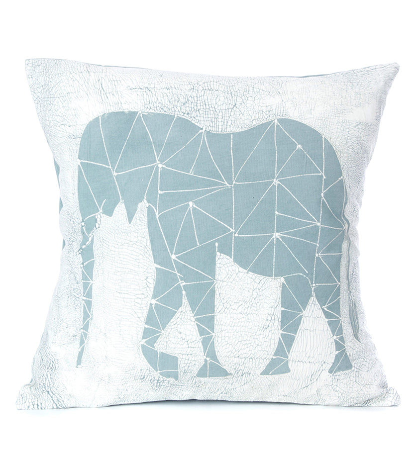 Hand Painted Blue Elephant Dry Season Pillow