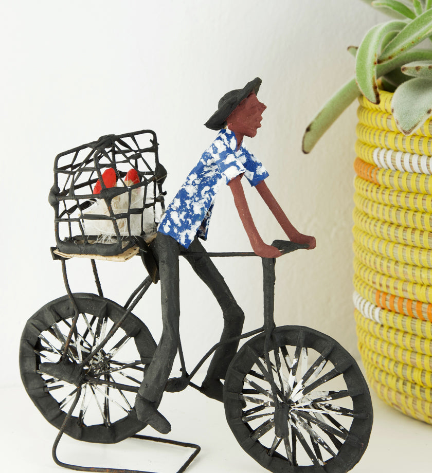 Biking Chickens to Market Papier-Mâché Sculpture