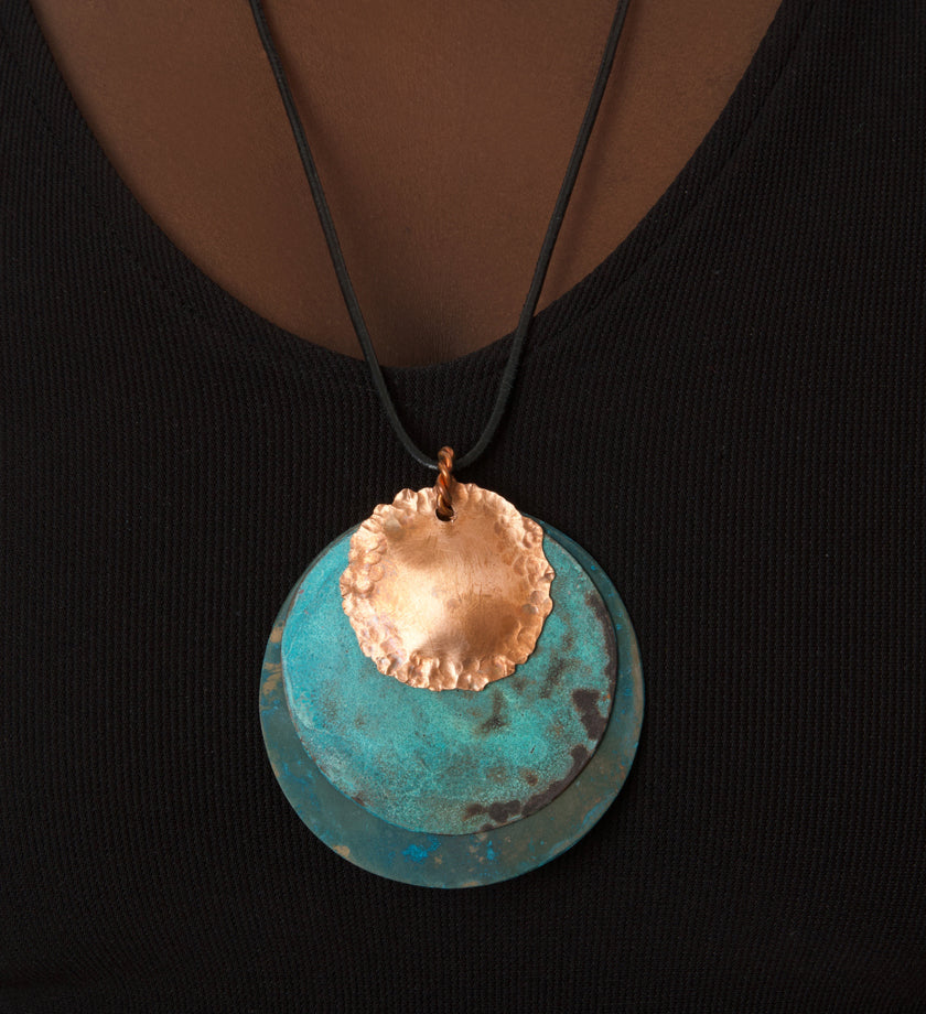 F.R.E.E. Woman Zambian Copper Viridian Disc Necklace
