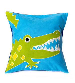 Hand Painted Safari Fun Crocodile Pillow