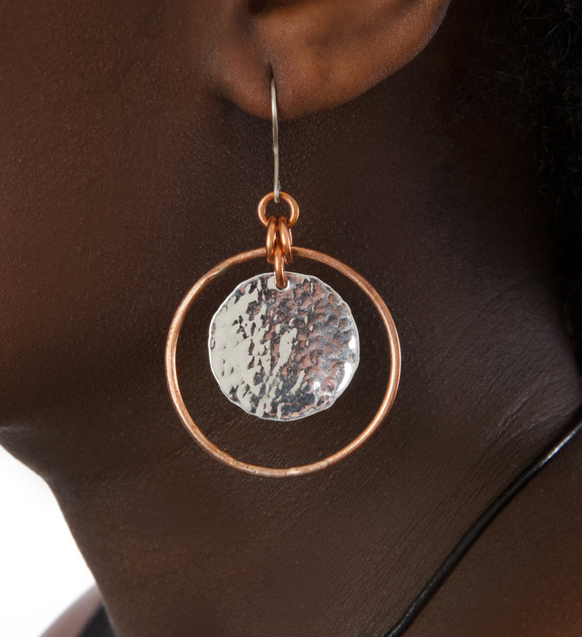 F.R.E.E. Woman Copper and Silver Disc Earrings