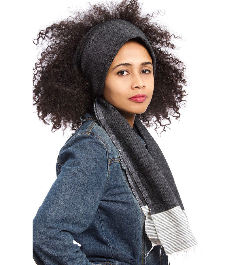 Black Ethiopian Luxe Cotton Scarf with Gray Border