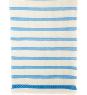 Ethiopian Cotton Azure Wide Stripe Shawl