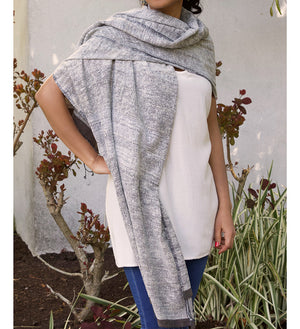 Stella Silk & Cotton Shawl with Smoky Gray Border