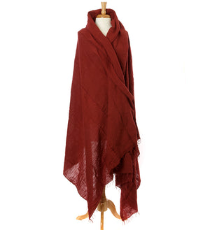 Rust Red Ethiopian Cotton Body Shawl