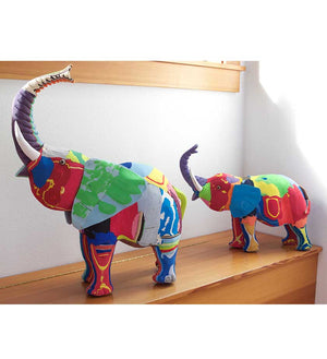Recycled Flip Flop Elephant Sculptures - Home Decor Handmade in Africa - Swahili Modern - 7