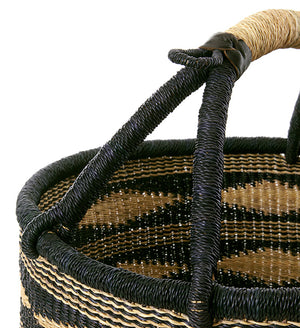 Detail of black and natural basket handle with black leather accents