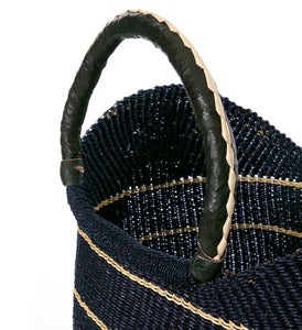 Midnight Blue Shopper with Black Leather Handles