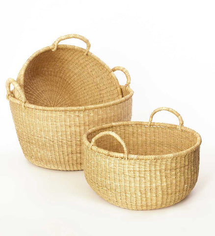 Set of Three Large Woven Ghanaian Grass Floor Baskets