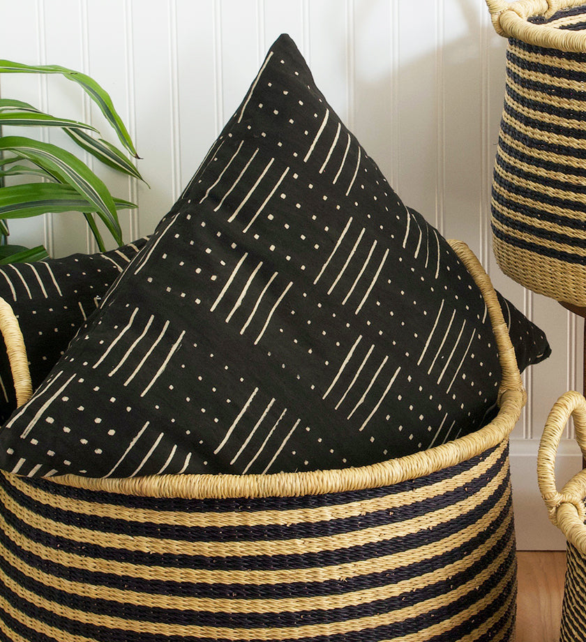 Weaver's Spindle Hand-Dyed African Mudcloth Pillow