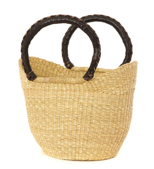 Natural Petite Shopper with Leather Wrapped Handles