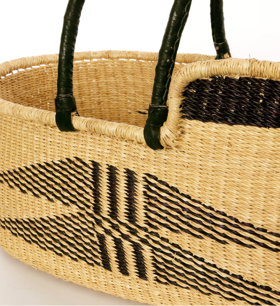 Natural and black woven grass baby bassinet / Moses Basket, handwoven in Ghana