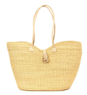 Natural Harmony Handbag with Braided Tassel Closure
