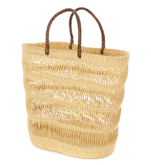 Veta Vera Lace Weave Shopper with Leather Handles
