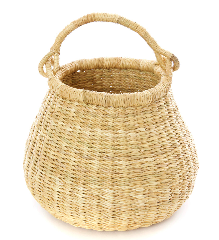 Natural Ghanaian Petite Kettle Basket