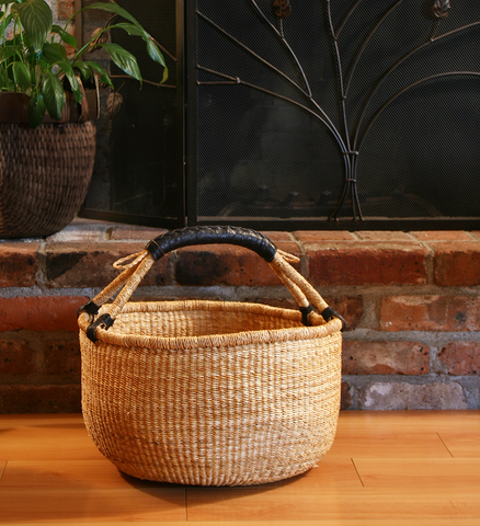 Leather Handled Bolga Basket - Basket Handmade in Africa - Swahili Modern - 2