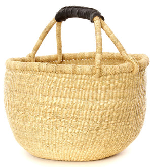 Leather Handled Natural Bolga Basket