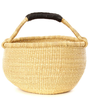 Black Leather Handled Natural Bolga Basket