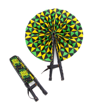 Spring Triangle Ankara Cloth and Leather Folding Fan
