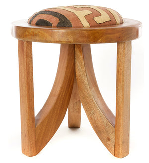 Assorted Patterned Congo Raffia Mahogany Triad Stool
