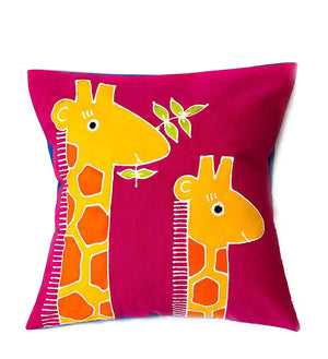 Hand Painted Safari Fun Giraffe Pillow